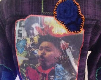 N Korean BBQ Couture Flannel One Of A Kind Collage Art Love Not War N Korea Vs The World Made In The USA