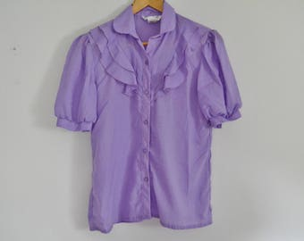 Vintage 1950's/1960's Purple Short Sleeved Blouse - Maggie Sweet
