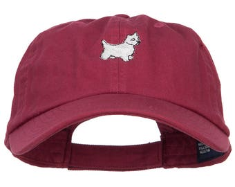 White Terrier Dog Embroidered Low Cap