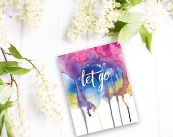 Let go - Magnet. Yoga gifts. Yoga studio decor. Inspirational magnet. Yoga art. Zen art. Inspirational art. Meditation art.