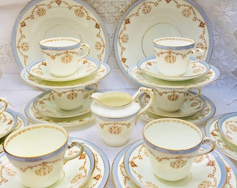 Oh So Beautiful Baby Blue Antique Clifton China 'Cefn' 27 Piece Teaset, 8 Person Teaset