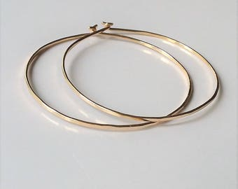 14K Gold Gold Filled Hoop Earrings, Minimalist Lightweight Hoop Earrings, Gold Hoop Earrings, Large Hoops.