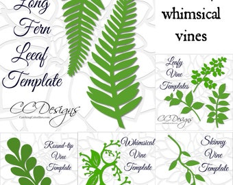 Leaf and Vine Templates, Printable PDF Leaf Template, Flower Template, DIY, SVG Cut Files, Instant Download