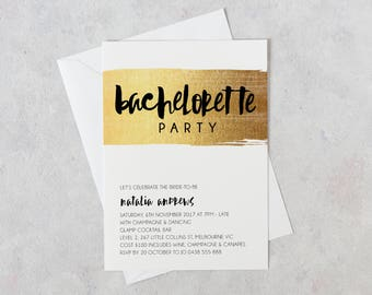 Bachelorette Party Invitation, Hens Party Invitation, Black and Gold, Bridal Shower Invite, Bachelorette Weekend, Girls Weekend, Bride Tribe