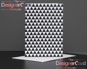 Black & White Triangles Pattern Greeting Card