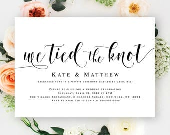 We Tied The Knot Invitations Editable Wedding Invitation Post Reception Elopement Template