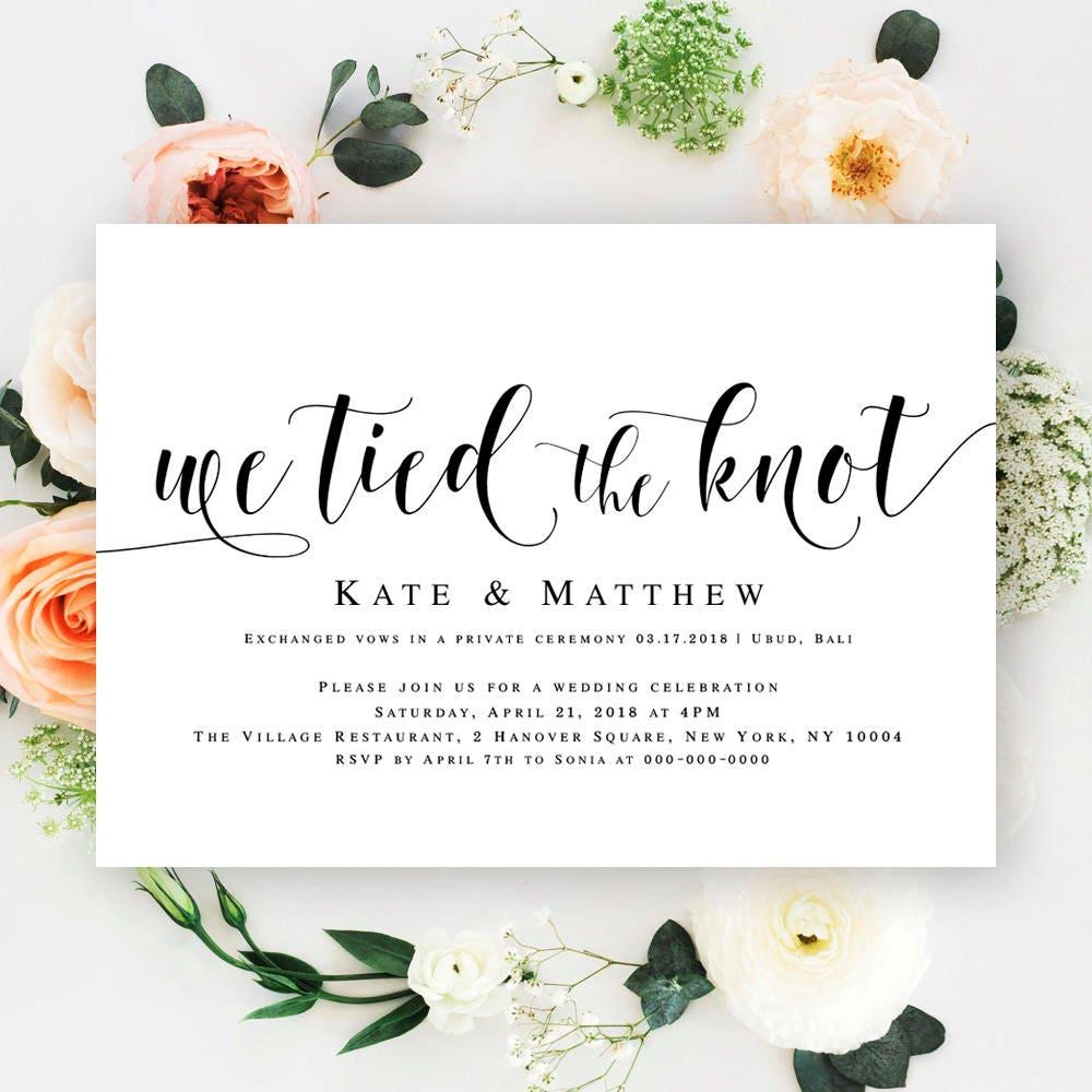 We tied the knot invitations Editable wedding invitation Post ...