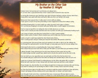 My Brother on the Other Side - Printable Poetry Instant Download