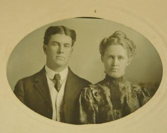 Antique Early 1900s Black White Cabinet Card Photograph Photo Well Dressed Man Woman Couple Photo Decor Vintage Photo Collage Oval Shape