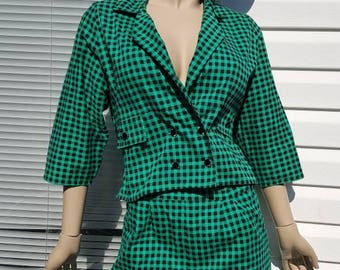 2 piece green gingham suit