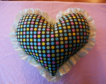 Valentines Day, Heart Shaped Throw Pillow, Polka Dot With Eyelet Lace Ruffle