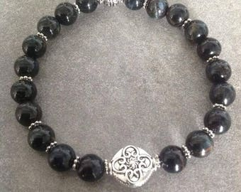 Please please good energized Bracelet be man Hawk Eye, silver beads