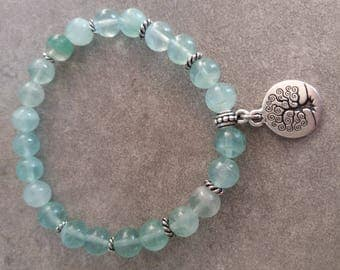 Please energized Bracelet please well being, spirituality, intuition, fluorite, silver tree of life