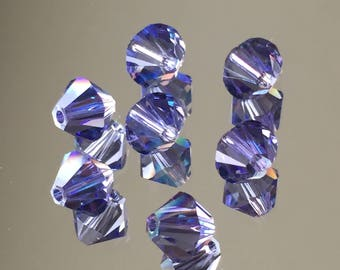Swarovski Crystals - 4 & 6mm Faceted Purple Bicone Beads - NEW Tanzanite SHIMMER (Purple) - Various Package Sizes Available (#434)