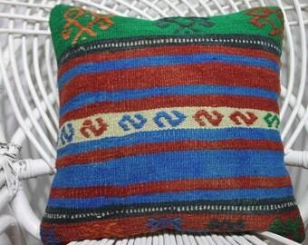Embroidery Desings indigo Blue Handwoven Vintage Turkish Kilim Rug Pillow Covers  Kilim Cushion Cover Home Decor Decorative Pillows  2943