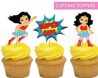 wonder woman Cupcake topper/ Wonder Woman Printables/ Wonder woman Cake Toppers/ Wonder Woman party favor/ Superhero Party/ Instant Download