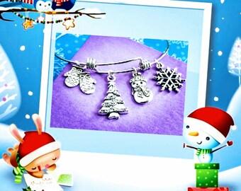 Christmas Bracelet, Snowman Bracelet, Holiday Bracelet, Holiday Jewelry, Holiday Gifts, Xmas Gifts, Merry Christmas, Bracelet Christmas