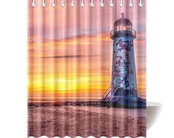 shower curtains, nautical decor, lighthouse shower curtain, lighthouse decor, bathroom decor, bath decor, nautical bath decor, lighthouse
