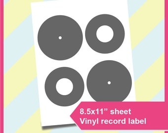 """Vinyl record label template,  PSD, PNG and SVG, Formats,  8.5x11"""" sheet,  Printable 154"""
