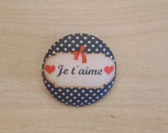 x 1 28mm fabric button I love you more A38