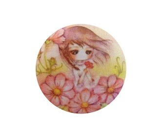1 cabochon 28mm x 3 BOUT11 flowers girl fabric