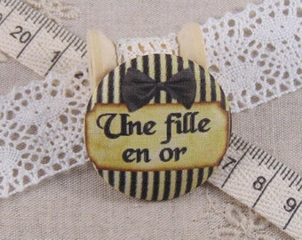 x 1 cabochon 22mm fabric a ref A13 golden girl