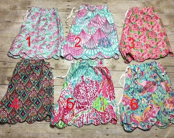 Lilly Pulitzer Inspired Adult Monogrammed Shorts/Lounge Shorts/Scalloped Shorts/Personalized Lilly Pulitzer Inspired Shorts