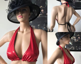 Red Halter string bikini top