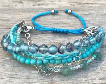 Stacker Bracelet, Blue Bracelet, Boho Bracelet, Surf Bracelet, Beaded Bracelet, Bracelet Stack, Gift for Her, Stocking Filler,