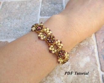 """Beading Pattern, PDF Tutorial, Bracelet Pattern, 8 mm Rivoli Bezel, Jewelry Tutorial, Bead Pattern, DIY Tutorial, """"Hugs"""" Bracelet"""