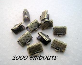 Déstockage gros lot 1000 embouts à serrer 10 mm bronze - L100318
