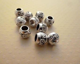 Set of 10 pearls silvery metal aged 8 x 7 mm - PMAV 0626