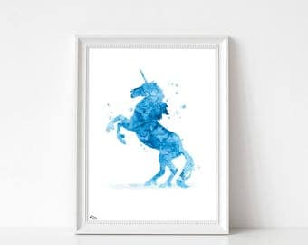 Unicorn art print, poster, Unicorn, watercolor Unicorn, animal art print, birthday gift, art print