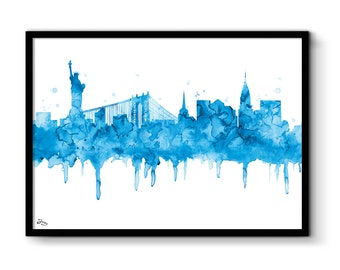Poster New York, New York City skyline American drawing, new york paint decoration, statue of liberty America illustration art
