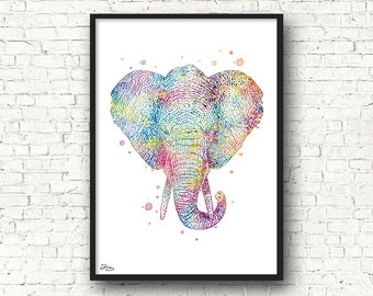 Elephant watercolor art print, animal art, animal poster, home decor, bedroom, living room, Christmas gift