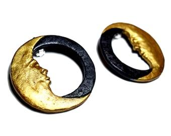 Moon face, New Moon Earrings, Stud Earrings, Gold Moon Earrings, Crescent Moon, Moon face earrings, Gold Hoop, Moon Earrings, Statement