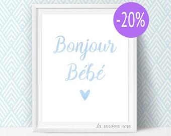 SALE Hello baby, boy nursery prints, Blue nursery decor, Baby boy wall art, French nursery Printables art  #0046B