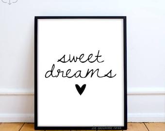 Sweet dreams print, Girl room decor, Typography print, Black and white Printable quotes, nursery art, modern decor  #0031B