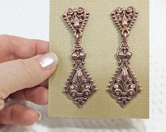 Vintage Filigree Copper Dangle Earrings