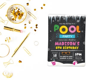 Winter pool invitation,Winter Pool Party Invitation,Winter Indoor Pool Party,Girls Pool Party,Indoor Pool Party,Snowflake Birthday