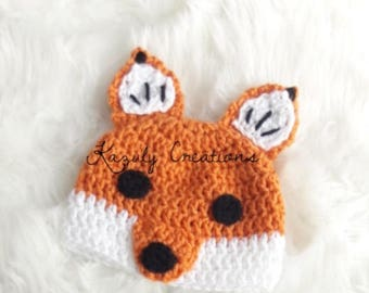 Fox newborn/baby/toddler/child hat , fox child hat , crochet fox baby hat , fox boy hat , fox girl hat , young adult fox hat