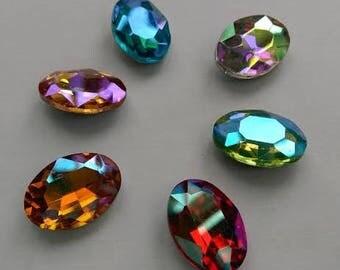 AB series Oval pointed back glass rhinestone crystal beads gemstones stones