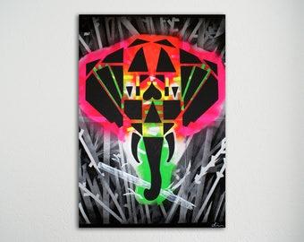 Schilderij - Like neon gold