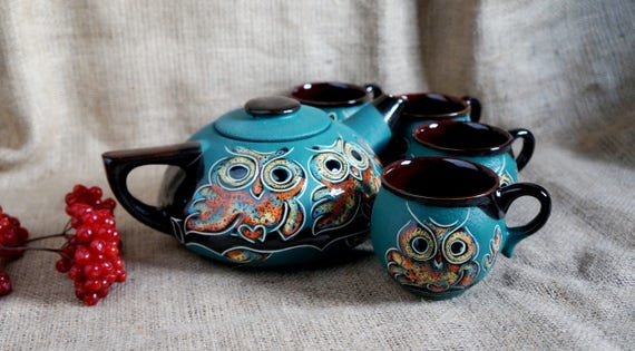 Tea set Owls Teapot set Ceramic pottery Green Owl teapot Tea kettle Pottery mug Wife gift Tea mug Mothers gift Housewarming gift Birthday
