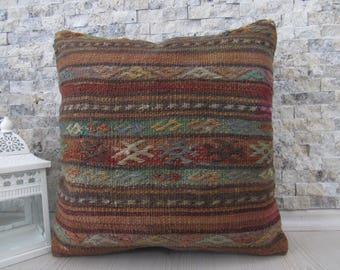 organic color kilim pillow 16x16 handwoven turkish pillow floor cushion bohemian pillow boho pillow decorative pillow aztec pillow