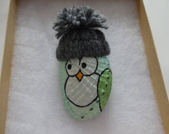 Handmade owl seashell ornament decoration abalone painted shell Christmas decor