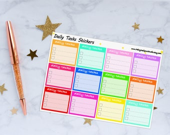 Daily Tasks Planner Stickers, To Do Stickers, Checklist Stickers, Work Stickers, Vinyl Stickers