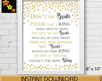 Don't Say Bride, Black and Gold Confetti, Bridal Shower Game, Wedding Shower Gamer, Gold Glitter, Printable Instant digital Download