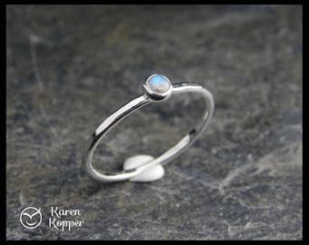 Labradorite Skinny sterling silver ring, hammered, 1.2 mm ring, made at your size. Skinny ring, thin ring, stacking ring.