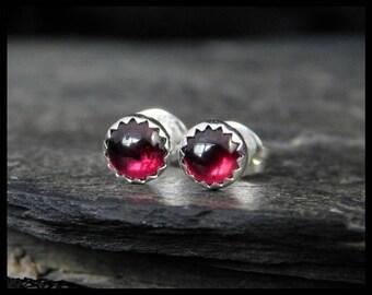 January birthstone earrings - Natural pink garnet gemstone cabochon, 5mm,  sterling silver serrated bezel, second earrings, 233